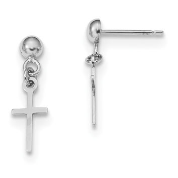 14k White Gold Polished Cross Dangle Post Earrings TC741W