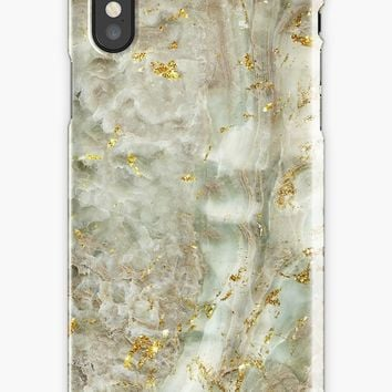 'Gem stone marble stone pattern with golden glitter' iPhone Case by Quaintrelle