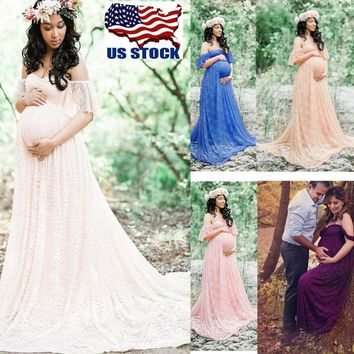 Pregnant Womens Off Shoulder Lace Long Maxi Dress Gown Maternity Photo Shoot USA   1
