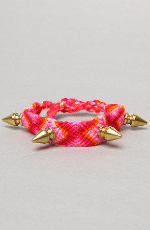The Spike Friendship Bracelet in Hot Pink Multi and Gold