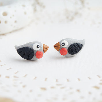 Winter Earring Studs Cute Little Bird - Tiny Bullfinch Bird earrings - Christmas Earrings - Polymer clay black and red jewelry