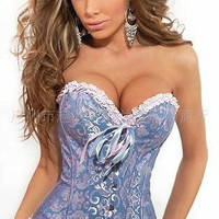 Plus size S-6XL Sexy Corselet Women Satin Overbust Embroidered Corset Bustier Corset Lingerie waist training