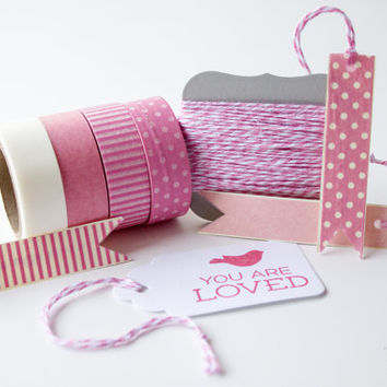 Pink Pack 2 - Washi Tape - Bakers Twine - Divine Twine - White, Solid Pink, and Pink Stripes, Pink Polka Dots