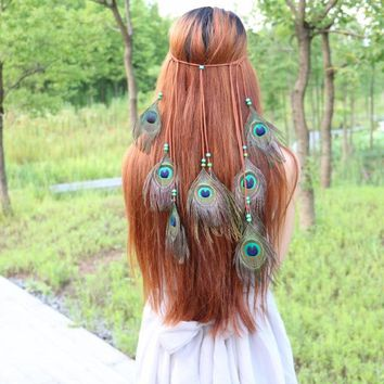 Bohemia Style Hairbands National Style Peacock Feathers Hair Belt Fashion Headwear Accessories Lady's Gift Necessary Tourism