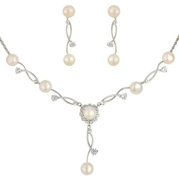 Women's Cubic Zirconia Simulated Pearl Bridal Necklace Earrings Jewelry Set Ivory Color