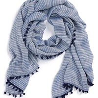 Women's Halogen 'Sparkle Stripe' Pompom Trim Scarf