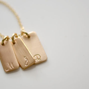 1,2,3,4,5 or 6 Gold Initial Necklace , Gold Initial Bar Tag Necklace, Personalized Gold Initial Tag, Personalized Necklace