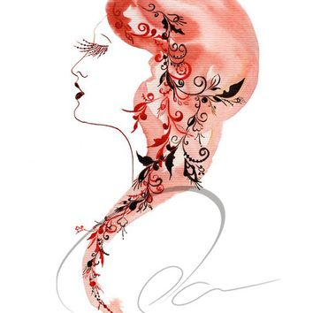 Beauty - Art Print sexy lips glamorous red hair exotic eyelashes luxurious makeup Russian woman watercolor painting wall Oladesign 11x14