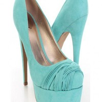 Mint Faux Suede Pleated Strapped Vamp Platform Pump Heels @ Amiclubwear Heel Shoes online store sales:Stiletto Heel Shoes,High Heel Pumps,Womens High Heel Shoes,Prom Shoes,Summer Shoes,Spring Shoes,Spool Heel,Womens Dress Shoes,Prom Heels,Prom Pumps,High