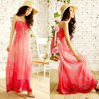 Red Boho Beach Maxi Dress
