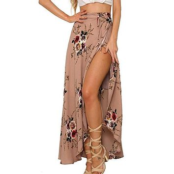 Women split maxi skirt floral print beach skirt