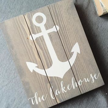 The Lakehouse Sign, Nautical Wooden Sign, Anchor