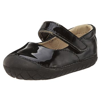 Old Soles Girl's 4001 Pave Jane Patent Black Leather Hook and Loop Strap Mary Jane Shoe