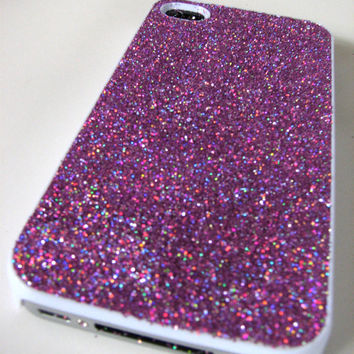 cover case fits iPhone models, unique mobile accessories, real glitter, purple