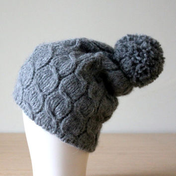 Alpaca knit hat with pom pom, Pompom hat Gray, Women's winter beanie, Cable knit beanie hat, Slouchy beanie, Merino wool hat, Wool pom pom