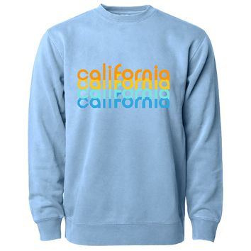 California Repeat Text Pigment Dyed Crewneck Light Blue