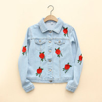 2016 Trending Fashion Floral Printed Women Stars Jeans Denim  Sweater Cardigan Coat Jacket Outerwear Top _ 9959