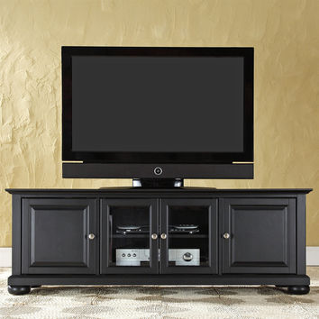 Contemporary Black Wood Low Profile TV Stand with Beveled Tempered Glass
