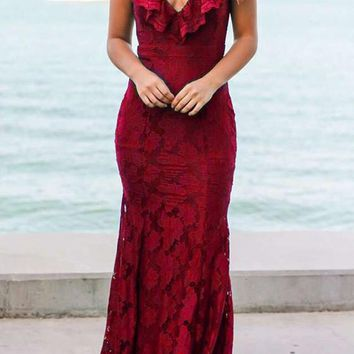 Red Patchwork Lace Zipper Cleavage Mermaid Elegant Maxi Dress