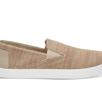 NATURAL SLUBBY LINEN YOUTH AVALON SLIP-ONS