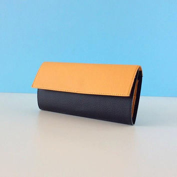 Beige and black vegan wallet / wallet for women / two tone wallet / vegan leather wallet / Fall Winter womens wallet / Holiday gift for her