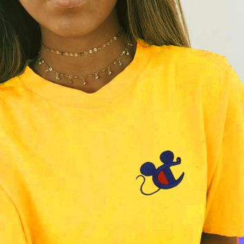 Champion Mickey Mouse Women Men Short Sleeve Tee Shirt Top B-MG-FSSH Yellow
