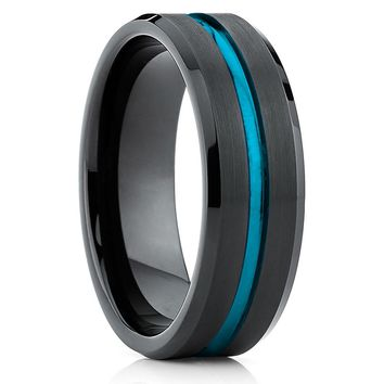 Black Tungsten - Black Tungsten Band - Tungsten Wedding Band - Turquoise