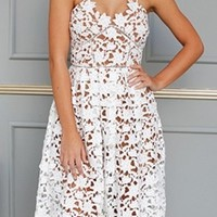 Sweet Tea White Cut Out Lace Spaghetti Strap V Neck Midi Dress