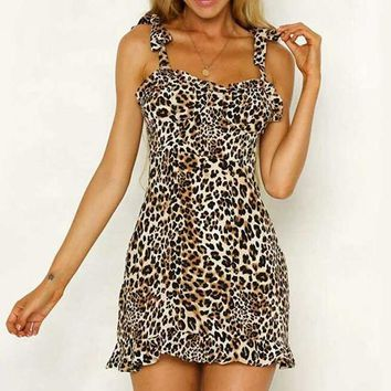 Sexy Bow Strap Dress Sleeveless Leopard Short Dress Women Casual Holiday Lace up Party Dress