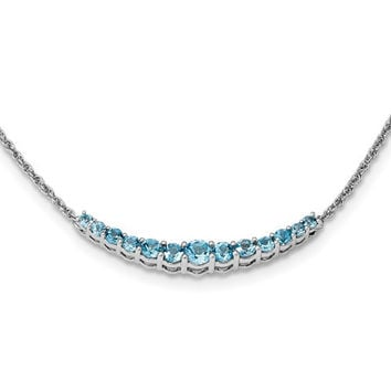 Sterling Silver Swiss Blue Topaz Lined Curved Bar Pendant Necklace