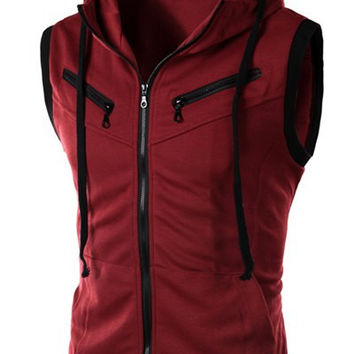 Hooded Drawstring Zipper Sleeveless Waistcoat