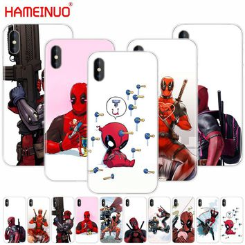 HAMEINUO  Super Cool Marvel Deadpool cell phone Cover case for iphone X 8 7 6 4 4s 5 5s SE 5c 6s plus