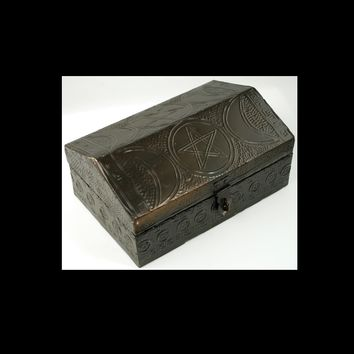 Triple Moon Pentagram Box Antiqued Copper