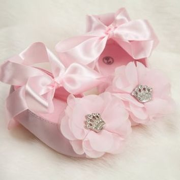 Rhinestone Crown Chiffon Flower Baby Girl Ribbon Tie Shoes
