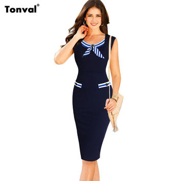 Tonval Womens Pencil Bodycon Dress 2016 Summer Women Casual Dress Sailor Work Office Elegant Evening Party Dresses Vestidos