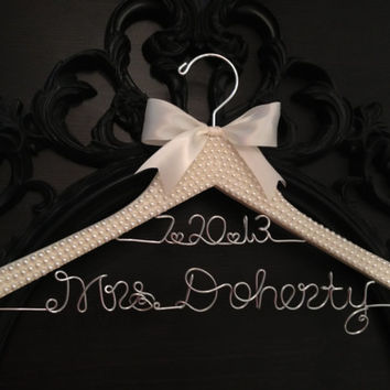 Bridal Hanger, Bride Hanger, Wedding Hanger, PEARL Covered Hanger, Bling Hanger, Personalized Hanger, Mrs. Hanger, Pearl Wedding, Bride Gift