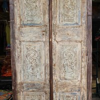 Handcarved Indian Antique Natural Wardrobe Almirah Farmhouse Design Wooden Cabinet Storage