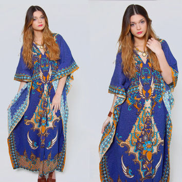 Vintage 70s BATIK Caftan Blue ETHNIC Print Cotton Maxi Dress THAI Floral Boho Caftan Hippie Dress