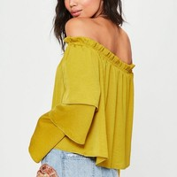 Missguided - Yellow Tiered Sleeve Bardot Blouse
