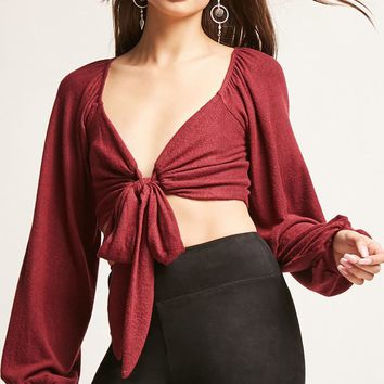 Marled Knit Crop Top