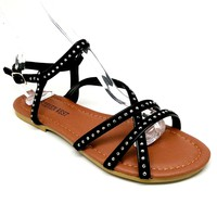 Women's Black Studded Sandal