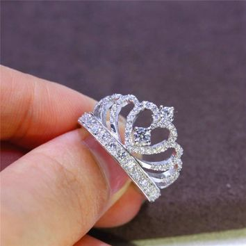 New Fashion Silver Crown Shape Rhinestone Crystal Rings Women Girl Wedding Bridal Party Ring Jewelry