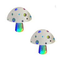Alice Down The Rabbit Holographic White Glitter Shroom Pasties