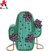 Atrra-Yo Design girls women messenger bags cactus shape chain bag in shoulder bag high quality handbag fashion female tote