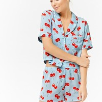 Satin Cherry Print Pajama Set