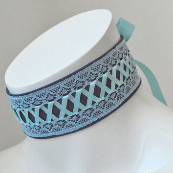 Kitten play collar - Deep sea - ddlg princess ocean mermaid neko girl collar with lace - blue and turquoise