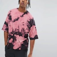 ASOS Super Oversized T-Shirt With Pink Bleach Tie-Dye at asos.com