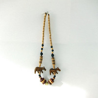 Vintage wooden necklace. beaded necklace. horse necklace. chunky beads. boho.