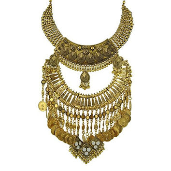 Zhenhui Bohemia Gold Tone Long Boho Statement Necklace with Coin Tassel for Women