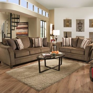Albany Chestnut Sofa and Loveseat